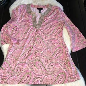 INC pink paisley embellished large shirt